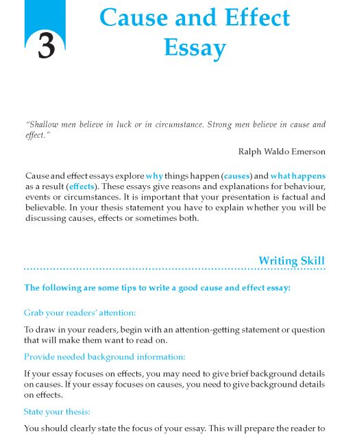 effect to cause essay Cause and effect topics when selecting your topic for this essay, you should find an event, trend, or phenomenon that has a fairly obvious cause and effect.