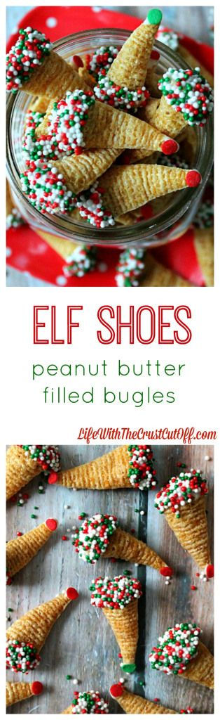 Elf Shoes (Peanut Butter Filled Bugles) The BEST most ADDICTING holiday snack out there! They are so easy to make and everyone goes crazy for them! Perfect for parties or gifts!