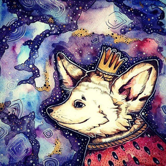 Author's drawing.  Fennec Fox in the purple cloak от LullabyForFox