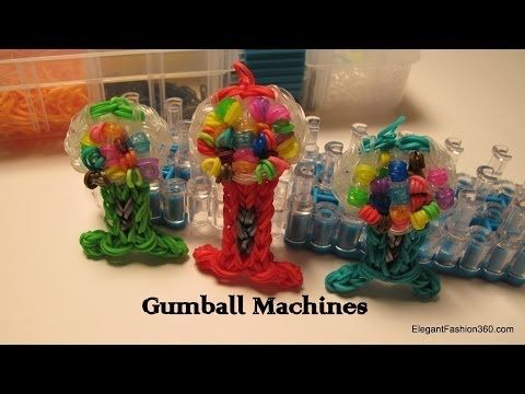 Rainbow Loom GUMBALL MACHINE Charm. Designed and loomed by Elegant Fashion 360. Click on photo for YouTube tutorial.