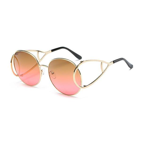 Women Oversize Frame Anti-UV Glasses Retro Colorful Lens Sunglasses at Banggood