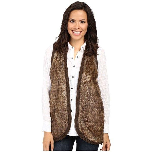 Ariat Aileen Fur Vest (Brown) Women's Vest ($70) ❤ liked on Polyvore featuring outerwear, vests, brown fur vest, ariat vest, fur waistcoat, bohemian vest and fur vests