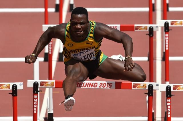 Jamaica's Omar McLeod defied difficult, rainy conditions to clock a world-leading 13.08sec on Saturday to win the 110m hurdles at the Drake Relays in Des Moines, Iowa.