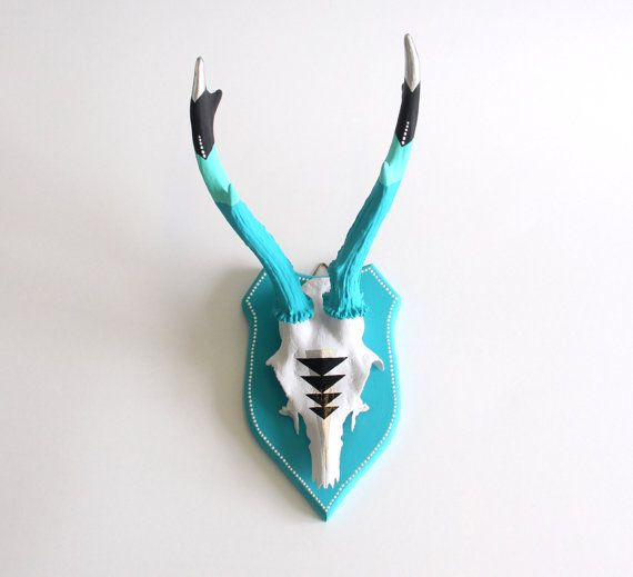 TURQUOISE & BLACK teal geometric aztec arrow chevron painted mounted taxidermy trophy deer skull and antlers - unusual decor gift wall art