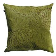 PUNTO LOCO CUSHION - LINDEN GREEN The Punto Loco laser burn cushion features a reflective pattern inspired by traditional batik.  This statement cushion repeat design creates an eye catching and luxurious aesthetic.  This cushion has been hand made by skilled artisans, each cushion is unique and one of a kind.  Cushion measures 50 x 50cm. Comes with Tonal Suedette Backing.  PET Fill Included.