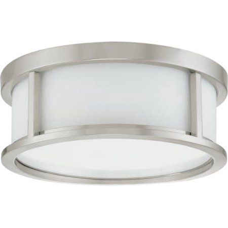 Nuvo Lighting 63811 - 2 Light (Twist and Lock Base) 13.1 inch Odeon Flush Mount Brushed Nickel Finish with White Satin Glass Ceiling Light Fixture (60-3811), Silver