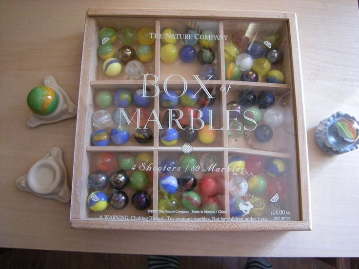 Wooden Box of Glass Marbles + 3 Stands for Display, Nature Company GUC #naturecompany #Glass