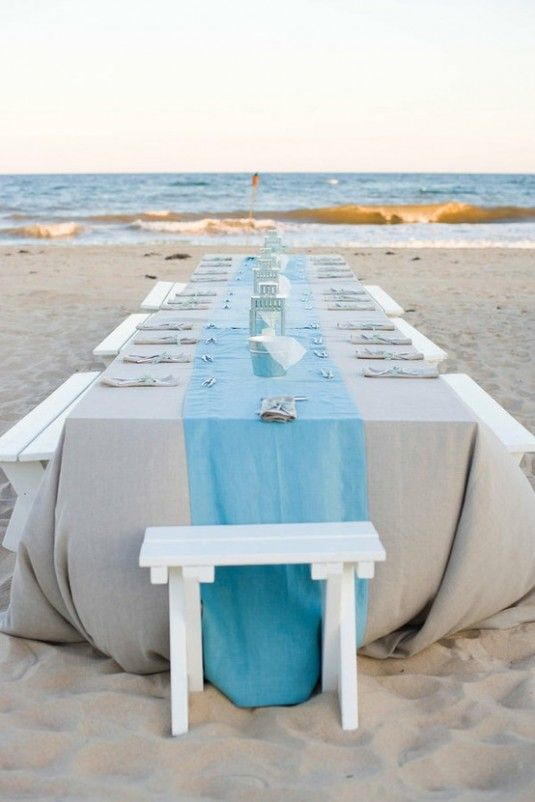 linen table, love this!!!!