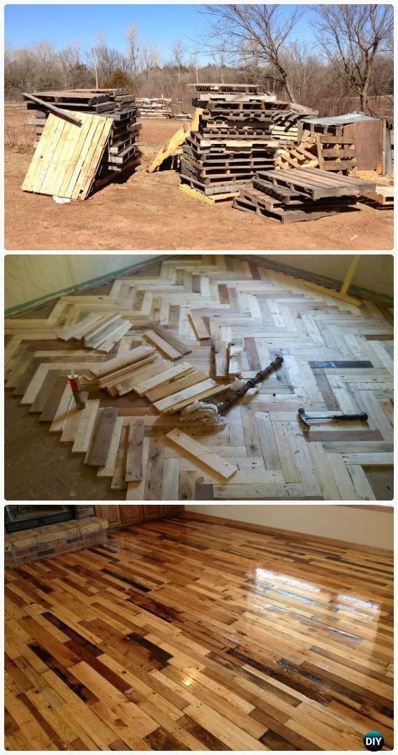 DIY Pallet Wood Flooring Instructions - DIY Flooring Ideas Low Cost