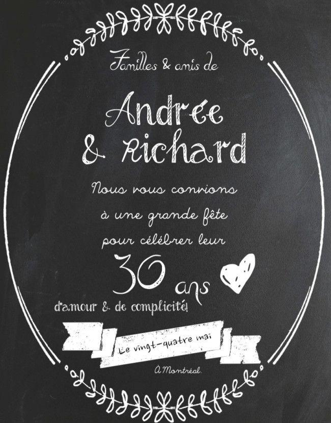 Invitation pour un 30e anniversaire de mariage.