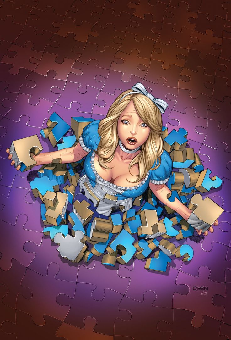 Alice falling to piece. Omfg. I need to incorporate this into my Alice in Wonderland sleeve.