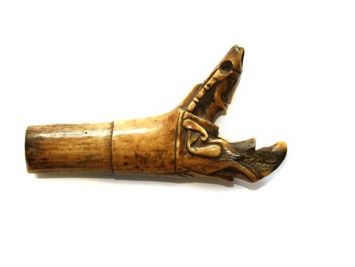 Unusual Iban Dayak carved Mandau or Parang Ihlang sword handle