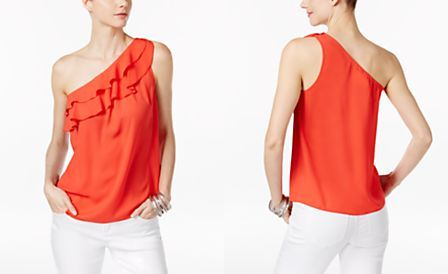 INC International Concepts Ruffled One-Shoulder Top, Only at Macy's