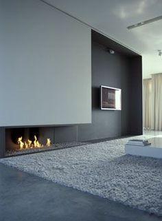 minimal white fireplace - Google Search