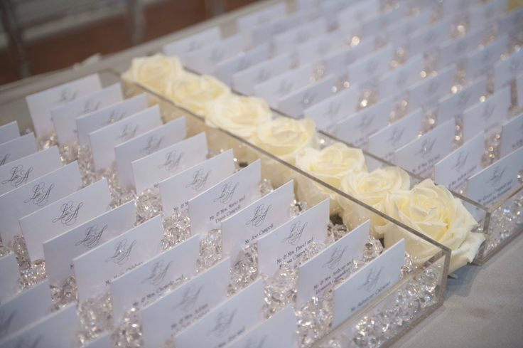Crystal chips and lucite for custom seating cards by So Pretty in Print