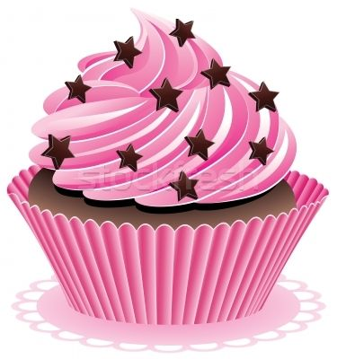 Cupcake art | ... vector illustration : vector pink cupcake with chocolate sprinkles