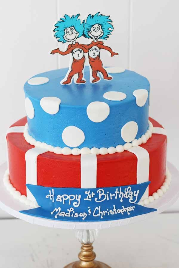 1215 thing 1 thing 2 twins dr seuss cake