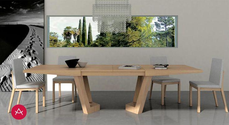 OLIMPIA - Mesa comedor extensible, apertura central, 2 extensibles 45 cms. Patas remetidas madera. Diseño, carácter y funcionalidad en la decoración del comedor.