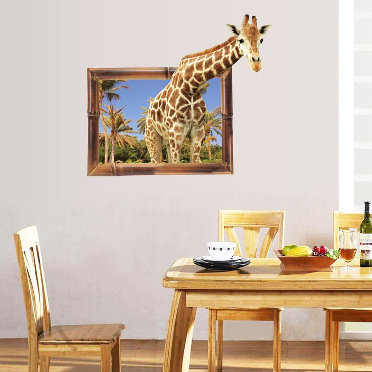 [Fundecor] cartoon 3D fake windows giraffe wall stickers animals living room indoor art decals pvc murals home decoration
