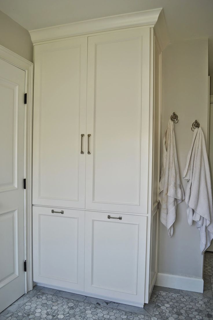 Install Tall Cabinet Instead Of Built Out Closet For Linen Storage In Master Bath
