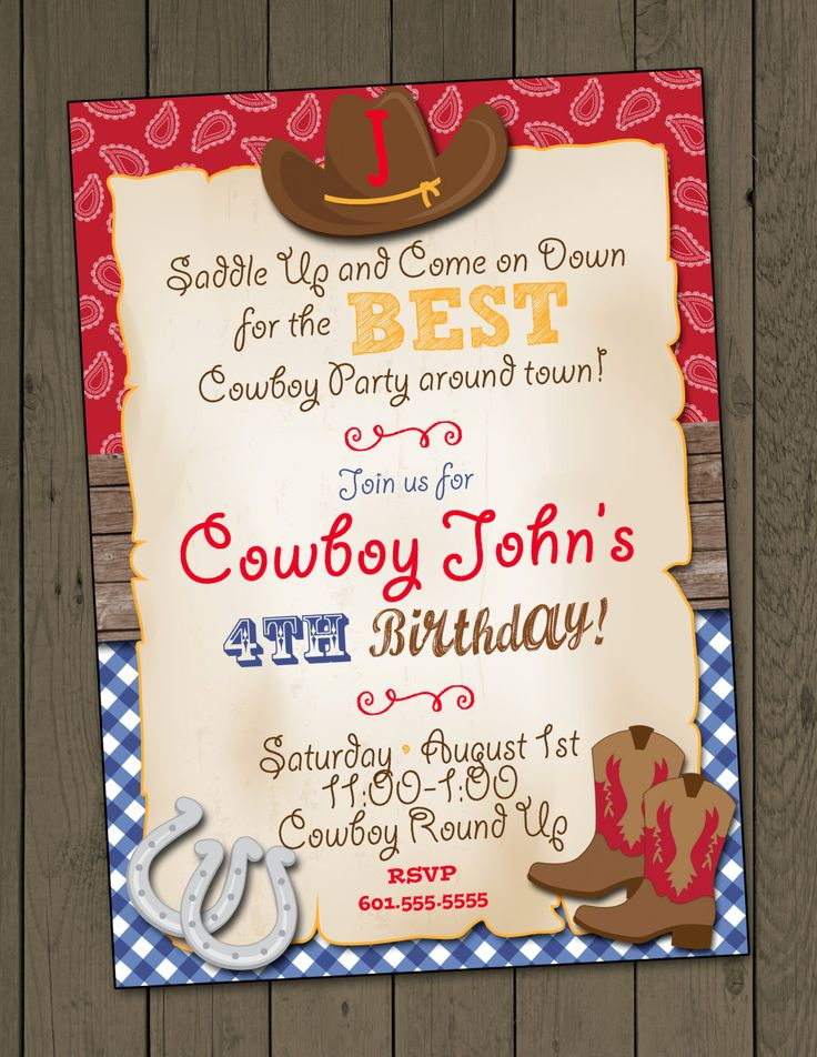Cowboy Birthday Party Invitation Cowboy Invitation Digital Invitation by DaxyLuu on Etsy