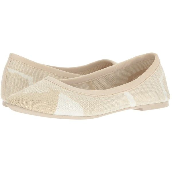 SKECHERS Cleo Wham (Natural/White) Women's Slip on  Shoes (6440 RSD) ❤ liked on Polyvore featuring shoes, flats, ballerina shoes, woven ballet flats, slip on flats, ballet shoes and white slip on shoes