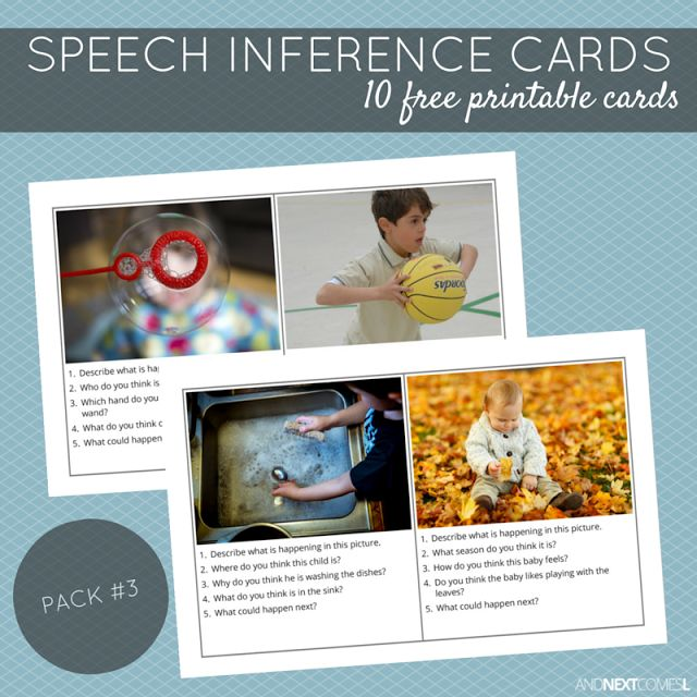 Free Printable Speech Inference Cards - Pack #3