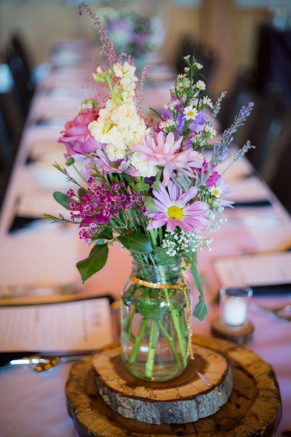 Purple Wildflower Centerpieces