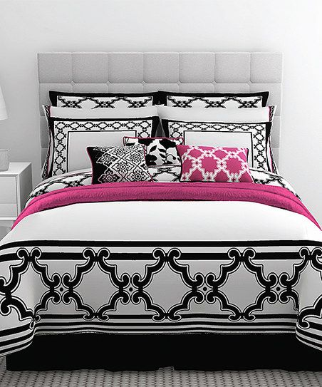 Pink, white black bed set