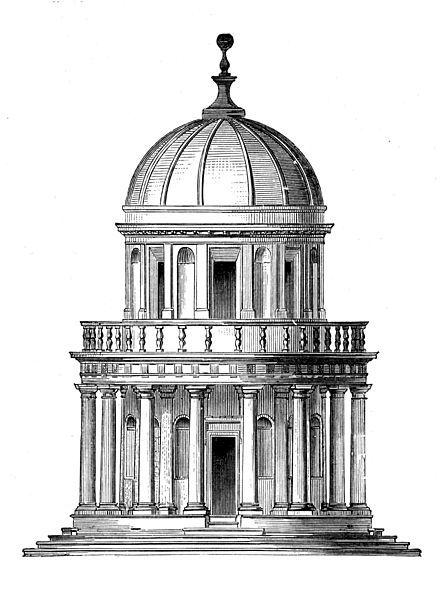 La costruzione fu commissionata a Bramante dal Re di Spagna come scioglimento di un voto. In seguito nel complesso conventuale fu presente una congregazione spagnola ed ancora oggi una parte degli edifici circostanti il tempietto sono sede dell'Accademia di Spagna.