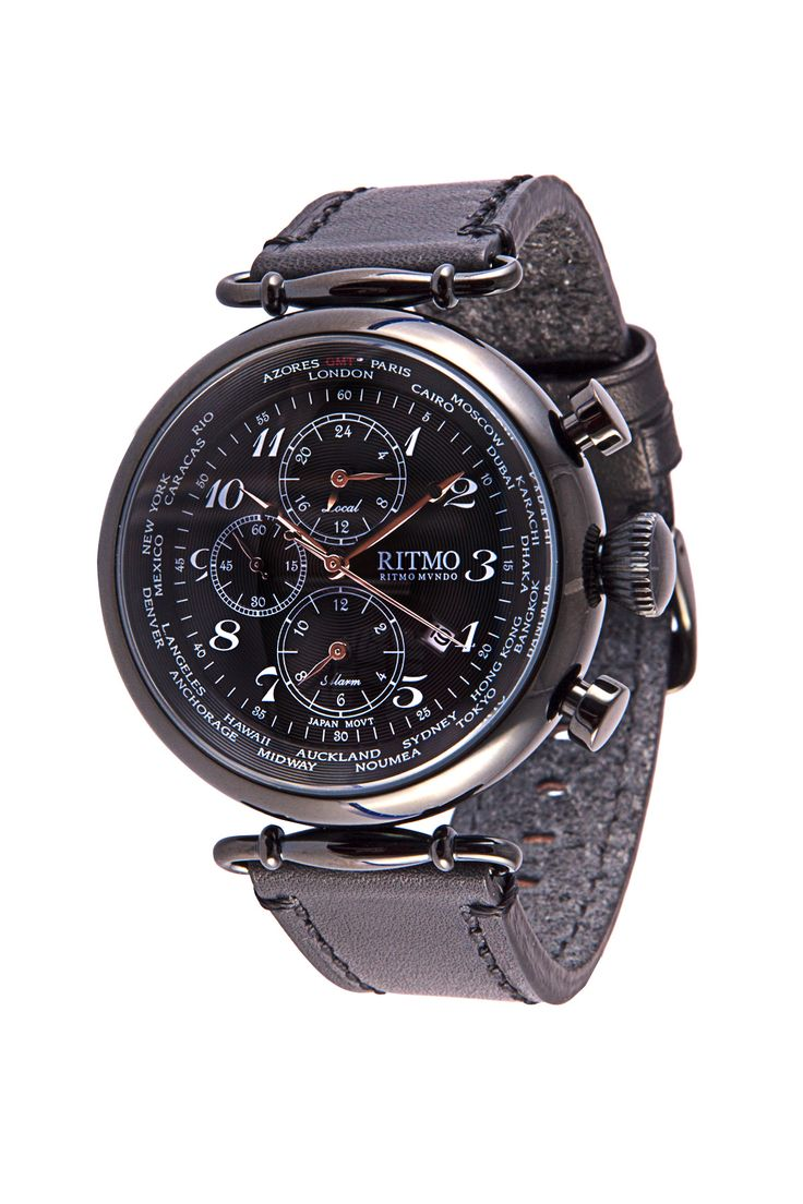 World Time 46mm Stainless Steel Black Multi Function Chronograph