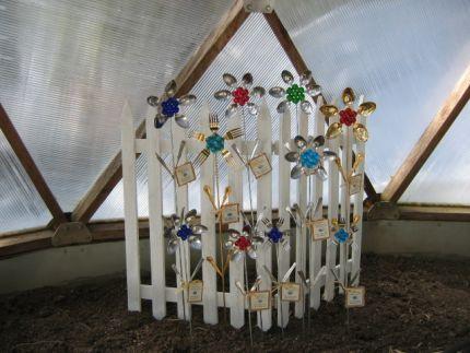 Flower Power Garden Stakes - Made from silverware