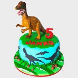 Deliciosa torta Dinosaurios en uno de nuestros fabulosos sabores y decorado en deliciosa masa elastica.