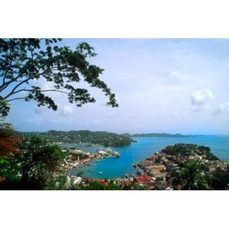 View from Mountain of St Georges Grenada Caribbean Canvas Art - Bill Bachmann DanitaDelimont (36 x 24)
