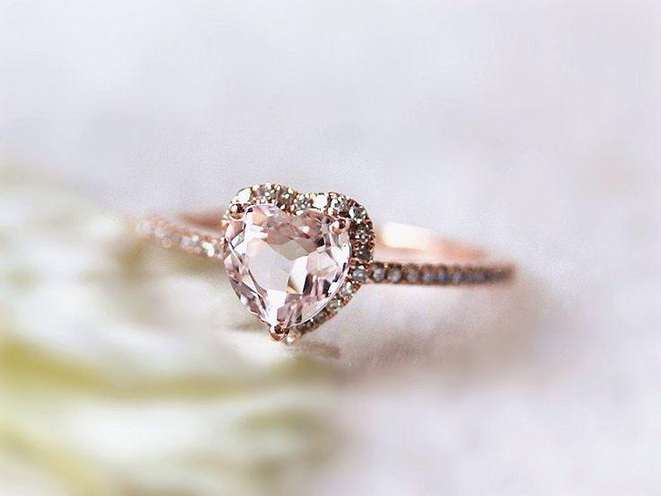 14k Rose Gold Lovely Heart Shaped Morganite Halo Diamond Engagement Ring /Heart Shaped Ring/Morganite Ring for Valentine's Day by InOurStar on Etsy https://www.etsy.com/listing/197366925/14k-rose-gold-lovely-heart-shaped