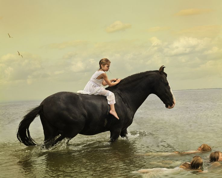 Little girl riding a Marwari horse in the water - Photography by Tom Chambers