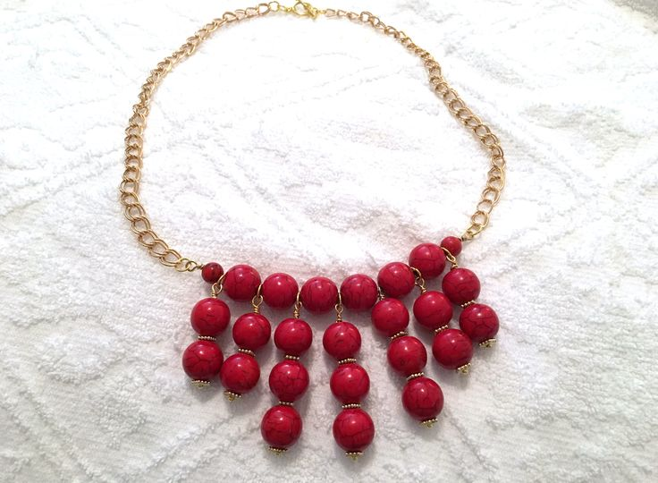 RED TURQUOISE Necklace with matching Earrings ~ Statement Necklace ~ Large red beads ~ by CJsJewelryWorks on Etsy