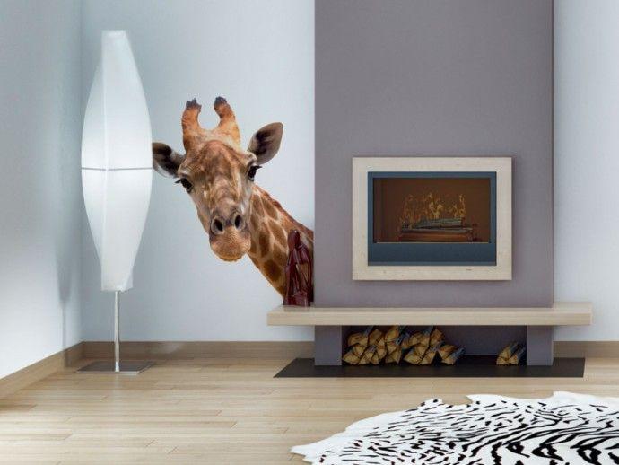 Adesivo murale con divertente giraffa renderà più allegro qualsiasi ambiente :) #adesivi #adesivo #adesivimurali #animali #giraffa #bimago