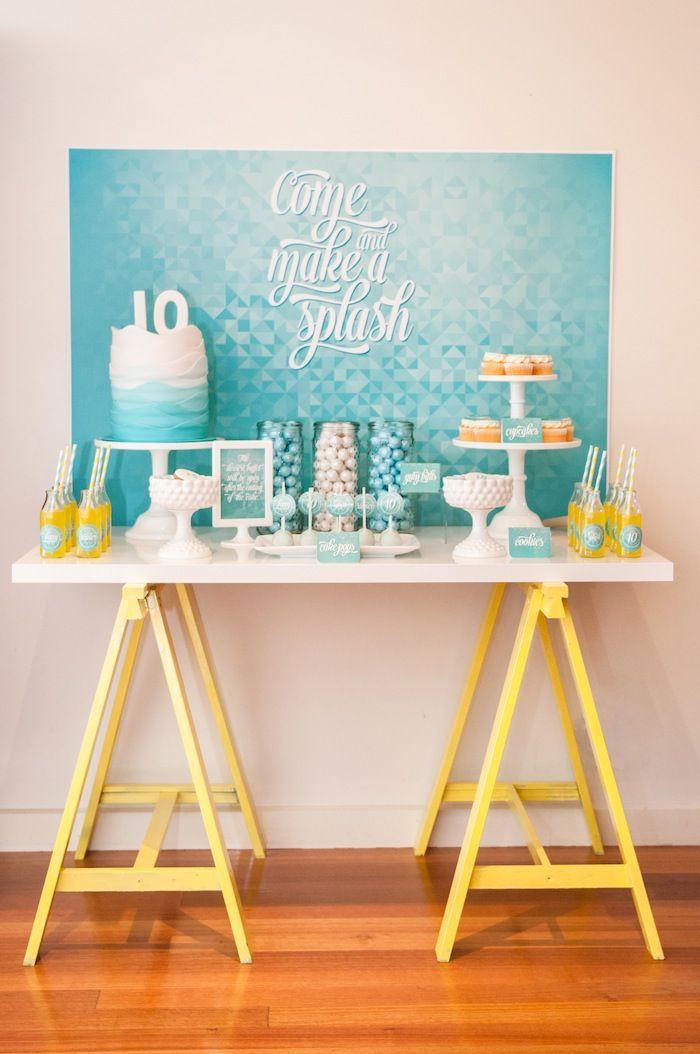 Hermosa mesa de postres para una fiesta acuática :: Beautiful dessert table for an aquatic party