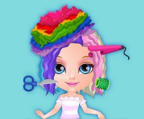 Baby Barbie Crazy Haircuts, http://www.mybabybarbiegames.com/game/baby-barbie-crazy-haircuts. Crazy colorful haircuts are the new must have trend of the season, girls! Baby Barbie wants to be the first one to try it on.