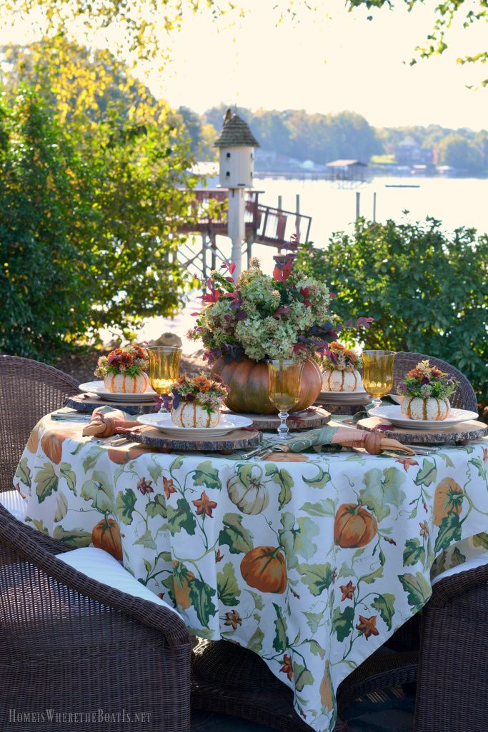 An Alfresco Fall Table with Blooming Pumpkins | homeiswheretheboatis.net