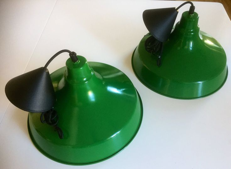 Pair of /Industrial/pendant /lamps//green/made in Italy/metal/bright green/jungalow/boho/midmod by WifinpoofVintage on Etsy