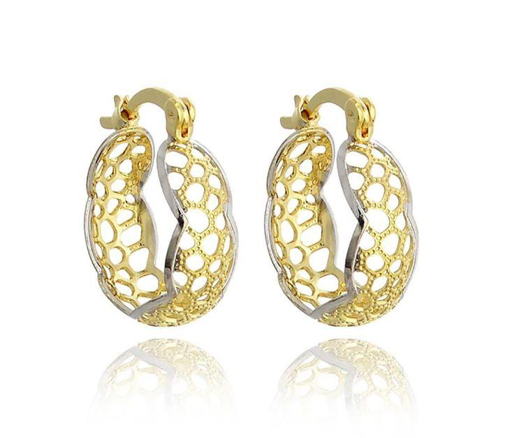 18k Yellow Gold Plated Two Tone Filigree Hoop Earrings Women's #QueensJewelry #Hoop