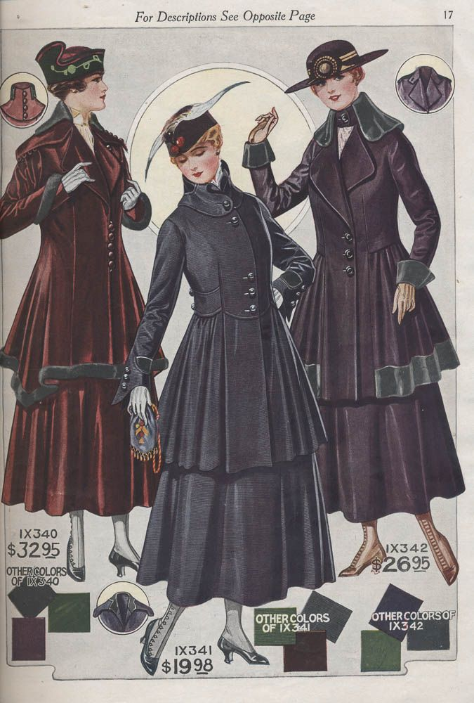 Ladies' suits in 1916-1917 Fall and Winter Catalogue No. 74 by Bellas Hess  Co.  All of these are amazing!!!!!!!