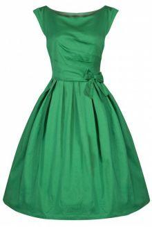 LindyBop Lucille šaty, zelené s mašlí