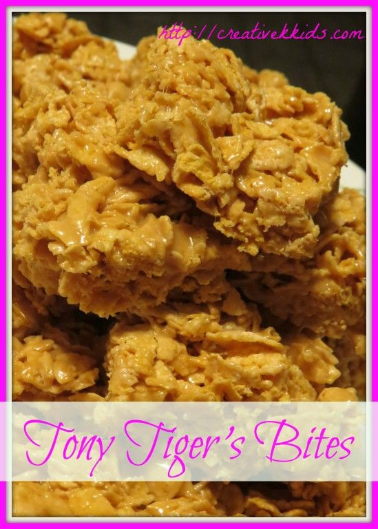 Tony Tiger's Bites--a no-bake dessert with frosted flakes, marshmallows, and peanut butter