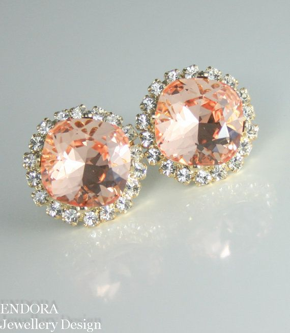 Peach earrings | Peach crystal earrings | Peach wedding | #EndoraJewellery