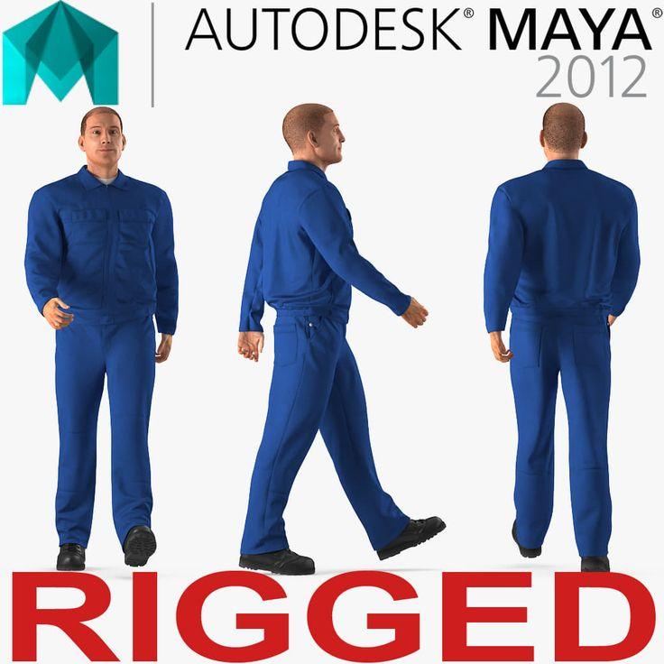3D Mechanic Worker Wearing Blue Overalls Rigged for Maya model