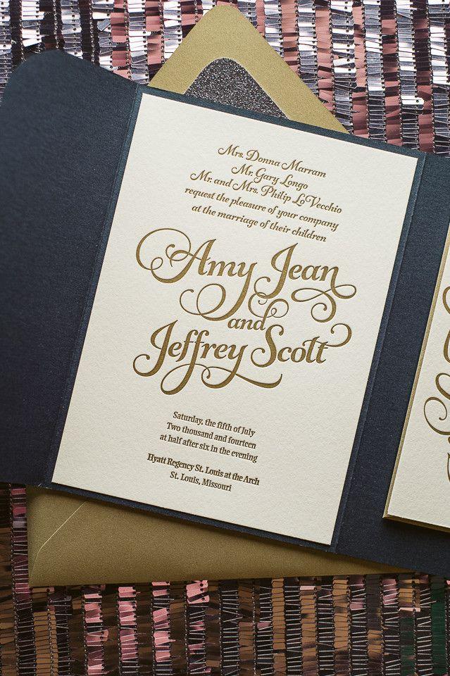 KATHRYN Suite Glitter Pocket Fold Package, navy, gold, grey, glitter wedding invitations, pocket folder for wedding invitations, letterpress wedding invitations, whimsical wedding invitations