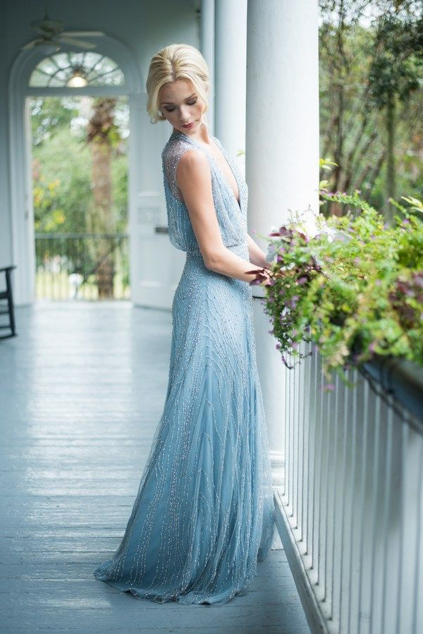 Stunning Light Blue Embellished Bridesmaid Dress|Delft Blue Wedding Inspiration in a Southern Setting|Photographer: Reese Moore Weddings